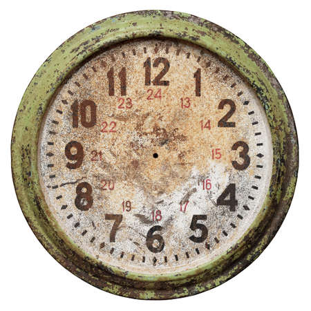 Very old round wall clock face without hands, isolated on white background