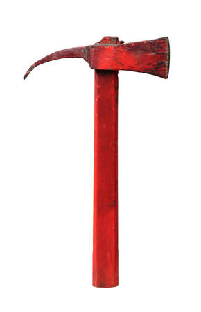 Old red axe with wooden handle, firefighter tool, isolated on white background