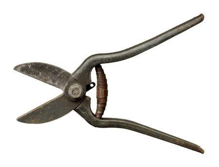 Aged vintage metalwork scissors, isolated on white background 版權商用圖片