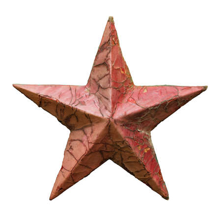 Old metal red star, weathered and rusty, Christmas decoration or Communism symbol, isolated on white background