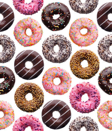 Set of assorted donuts, isolated on white background, seamless pattern