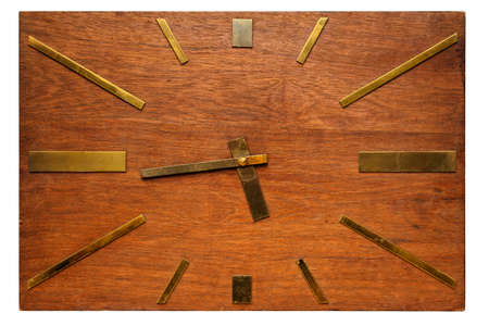 Very old retro rectangular wooden wall clock, isolated on white background