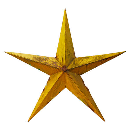 Very old shabby and rusted five-pointed yellow metal star, isolated on white background 版權商用圖片