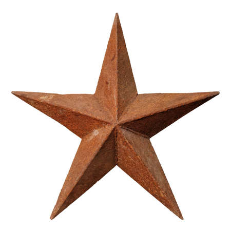 Very old shabby and rusted five-pointed metal star, isolated on white background 版權商用圖片