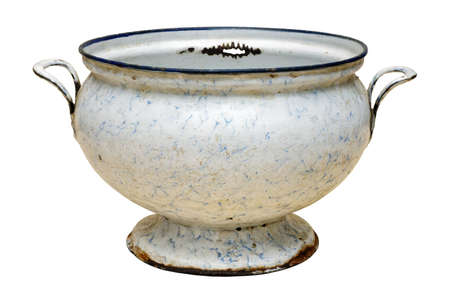 Very old enameled empty soup bowl, isolated on white background
