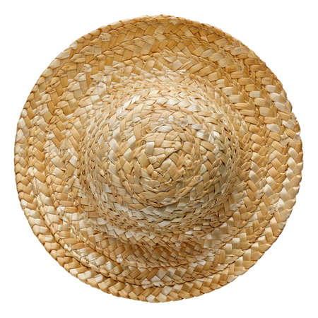 Round straw hat, top view, isolated on white background