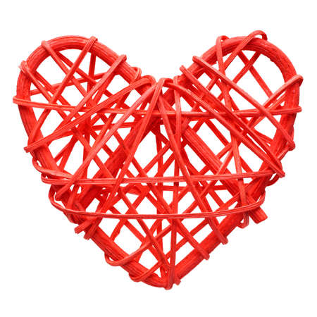 Red heart, handmade wicker decoration, isolated on white background