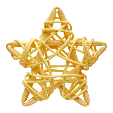 Yellow five-point star, handmade wicker decoration, isolated on white background 版權商用圖片