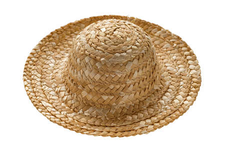 Round straw hat, side view, isolated on white background