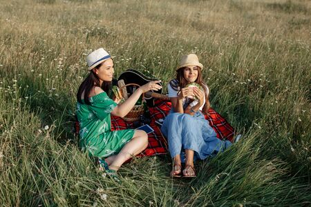 Two attractive young women sitting down on the picnic blanket and have fun. Beer and sandwiches.