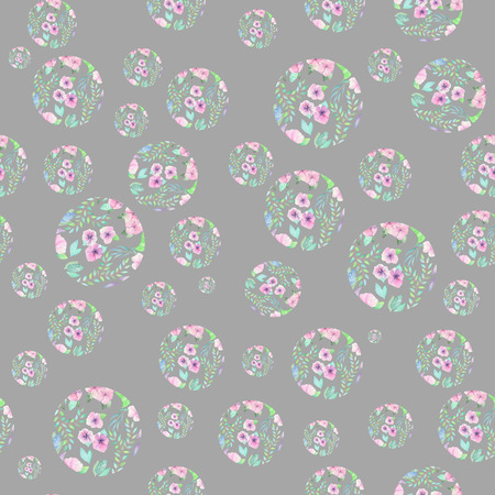 pastel shades: Seamless pattern of circles formed from the watercolor floral elements on a grey background