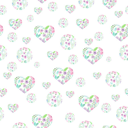 purple flower: Seamless pattern of hearts and circles formed from the watercolor floral elements on a white background