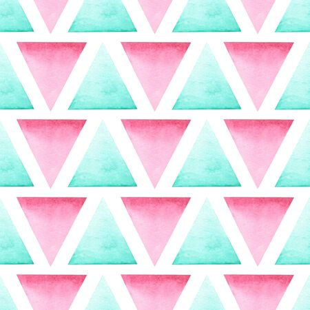 and turquoise: Seamless geometric pattern with bright pink and turquoise triangles painted in watercolor on a white background Stock Photo
