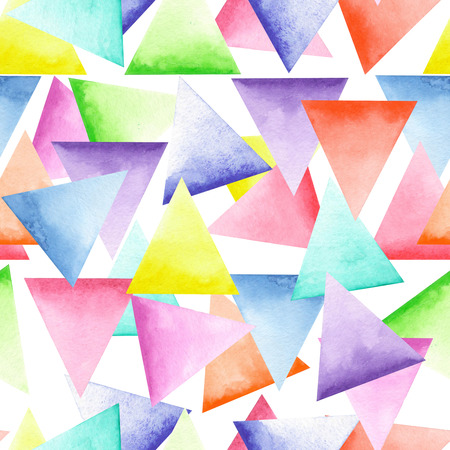 Seamless geometric pattern with bright triangles painted in watercolor on a white background Banco de Imagens