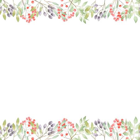 흰색 배경에 수채화로 그린 나뭇 가지, 나뭇잎, 붉은 색과 보라색 열매의 꽃 예술 디자인 프레임