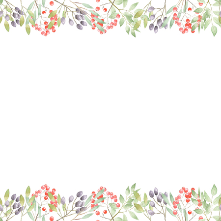 Floral art design frame of twigs, leaves, red and purple berries painted in watercolor on a white background