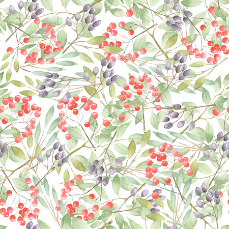 Floral pattern with twigs, leaves and berries on a white background