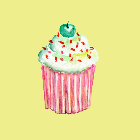 savoury: Tasty, bright and sweet muffin with a cherry, painted in watercolor, on a yellow background