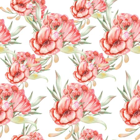 viburnum: Seamless pattern with red flowers and green leaves painted with watercolors, on a white background