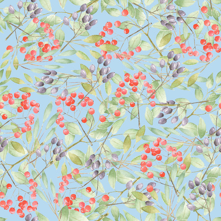 Floral pattern with twigs, leaves and berries on the blue background
