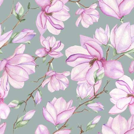 Seamless floral pattern with magnolias painted with watercolors on grey background Stockfoto