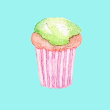 savory: Tasty, bright and sweet muffin with a green cream, painted in watercolor, on a turquoise background Stock Photo