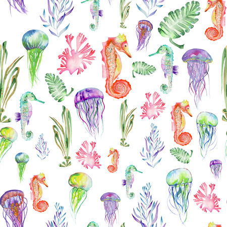 Seamless pattern with multicolored seahorses, jellyfish and seaweed algae painted in watercolor on a white background