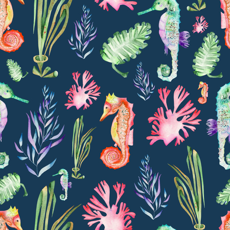 wrack: Seamless pattern with multicolored seahorses and seaweed algae painted in watercolor on a dark blue background
