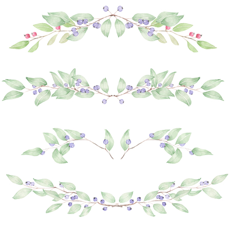 Frame border, floral decorative ornament with blueberries painted in watercolor for greeting card, decoration postcard or invitation Banco de Imagens