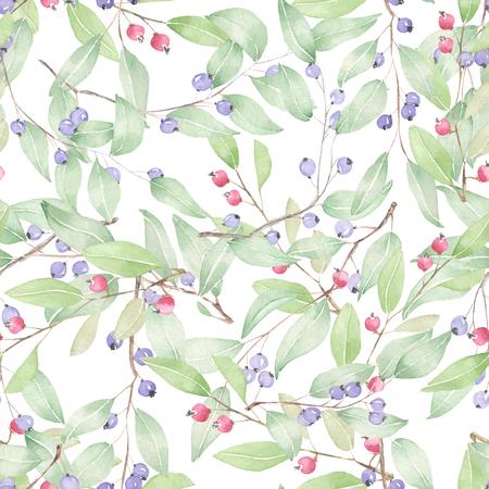 흰색 배경에 수채화로 그린 블루 베리의 원활한 패턴