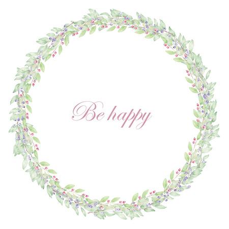Corona de arándanos rojos y pintados en acuarela sobre un fondo blanco, postal de la decoración o de la invitación para la boda, celebración, día de fiesta Foto de archivo