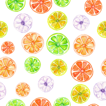candied fruits: Seamless pattern with colored candied fruits painted in watercolor on a white background Stock Photo