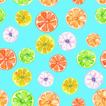 candied fruits: Seamless pattern with colored candied fruits painted in watercolor on a turquoise background