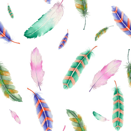 Seamless pattern of colored feathers painted with watercolors on a white background