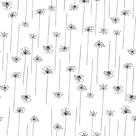 Seamless pattern with black silhouette of fennel painted in watercolor on a white background