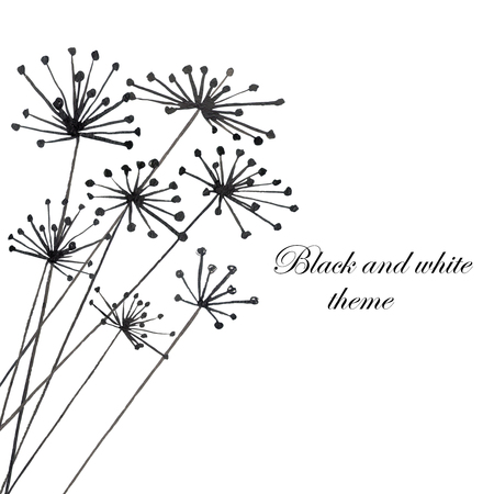 dill: Illustration with black silhouette of fennel painted in watercolor on white background, postcard or decor