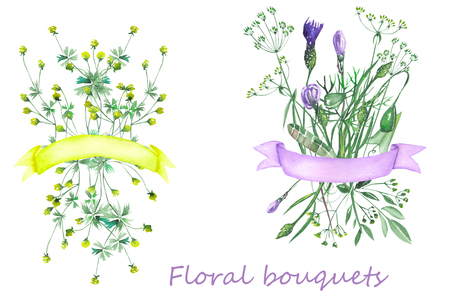 Bouquets of wildflowers with ribbons painted in watercolor on a white background