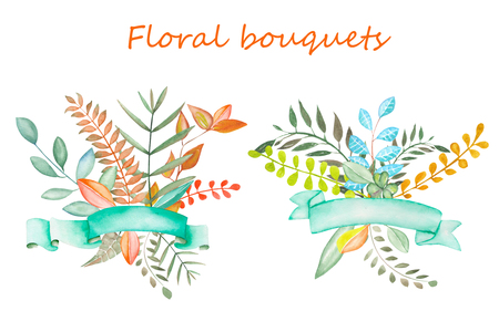 buttercup  decorative: Floral bouquets with ribbons painted in watercolor on a white background, greeting card, decoration postcard or invitation