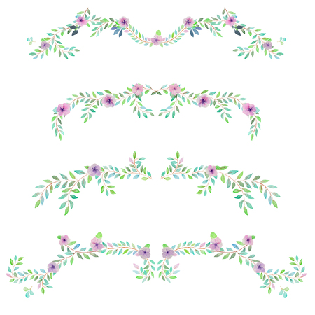 Frame border, floral decorative ornament with purple flowers, green leaves and branches painted in watercolor for greeting card, decoration postcard or invitation Stock Photo