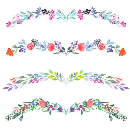 Frame border, floral decorative ornament with watercolor flowers, leaves and branches painted in watercolor on a white background for greeting card, decoration postcard or invitation