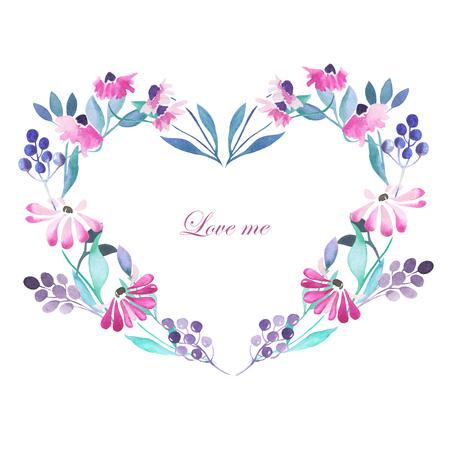 심장 프레임, 보라색 꽃, 푸른 열매와 녹색 잎 흰색 배경에 수채화로 그린, 인사말 카드, 장식 엽서 또는 초대의 화환