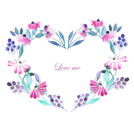 Heart frame, wreath of purple flowers, blue berries and green leaves painted in watercolor on a white background, greeting card, decoration postcard or invitation Banco de Imagens
