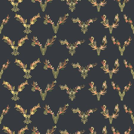 entwined: Seamless pattern with the antlers entwined by flowers, leaves and plants painted in watercolor on a dark background