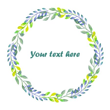 Circle frame, krans van takken met groene, blauwe en citroen bladeren geschilderd in waterverf op een witte achtergrond, wenskaart, decoratie briefkaart of uitnodiging Stockfoto