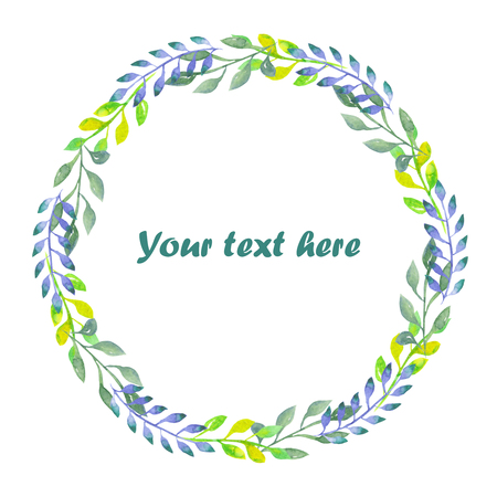 Circle frame, wreath of branches with green, blue and lemon leaves painted in watercolor on a white background, greeting card, decoration postcard or invitation Zdjęcie Seryjne