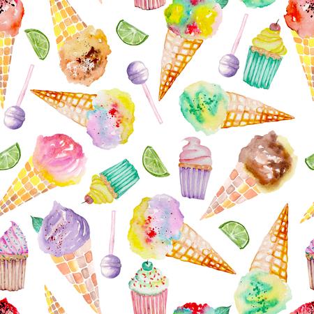 Бесшовный фон с ярким, вкусным и аппетитным мороженым и кондитерскими изделиями, окрашенными в акварелью на белом фоне