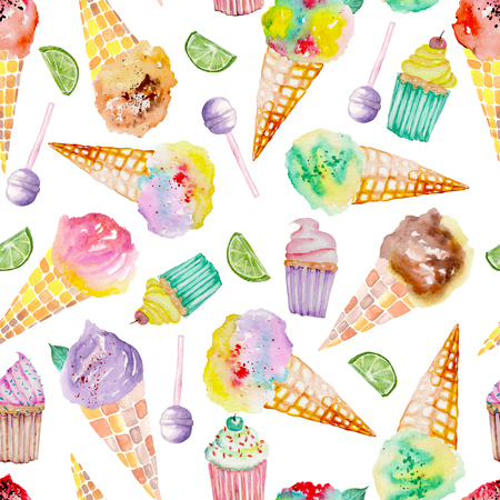 Seamless pattern with bright, tasty and appetizing ice cream and confection painted in watercolor on a white background Banco de Imagens