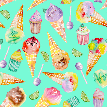 Бесшовный узор с ярким, вкусным и аппетитным мороженым и кондитерским изделием, окрашенным в акварелью на фоне бирюзы