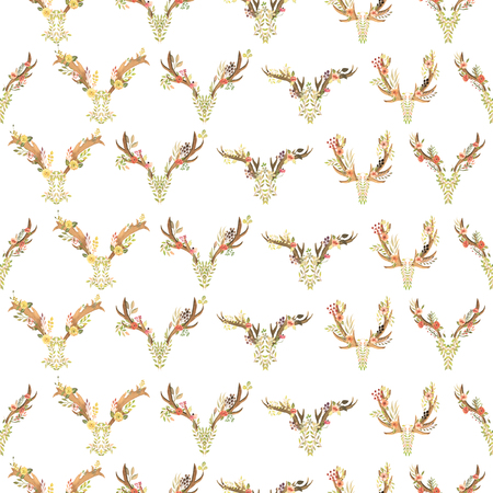 entwined: Seamless pattern with the antlers entwined by flowers, leaves and plants painted in watercolor on a white background