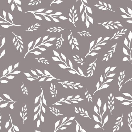 bicolor: Bicolor seamless floral pattern with white leaves on the branches on a grey background